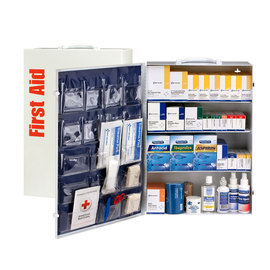 RADNOR® White Metal Portable Or Wall Mounted 150 - 200 Person 4 Shelf First Aid Cabinet With Medicinals
