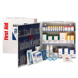 RADNOR® White Metal Portable Or Wall Mounted 100 - 150 Person 3 Shelf First Aid Cabinet