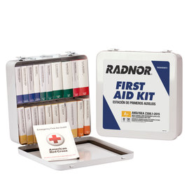 RADNOR® White Metal Portable Or Wall Mounted 50 Person 24 Unit First Aid Kit