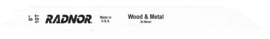 """8"""" X 3/4"""" X .050"""" X 10 Tooth Per Inch Style 810R Radnor® Reciprocating Saw Blade (5 Per Package) 