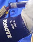 Close up of Radnor welding glove.