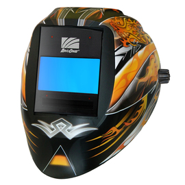 ArcOne® Vision® Black/Orange/Yellow/White/Gray Welding Helmet Variable Shades 5, 5 - 14 Auto Darkening Lens, Digital ASIC And Dragon Fire Unplugged Graphics