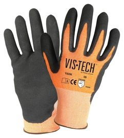 Wells Lamont Medium Vis-Tech™ 13 Gauge Fiber And Stainless Steel Cut Resistant Gloves With Sandy Nitrile Coated Palm And Fingertips