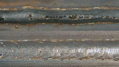 picture of bad weld vs good weld