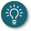 Illustrated icon of a lightbulb; white against teal.