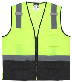 MCR Safety® X-Large Lime Green, Black And Silver Polyester Safety Vest With Reflective Stripes