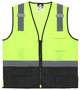 MCR Safety® Large Lime Green, Black And Silver Polyester Safety Vest With Reflective Stripes
