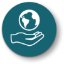 Illustrated icon of hand holding the world; white against teal.