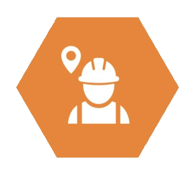Illustrated icon of worker with a geo-tag over the worker's shoulder; white against orange.